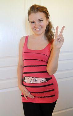 Peekaboo Baby Twins Maternity Tee or Tank Top -- TWO cute!