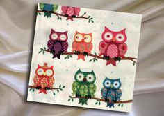 2 paper napkins for decoupage with colorful owls,  size 33x33cm by ArsaiSupplies on Etsy