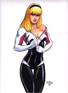 Sexy Gwen Stacy Spider-Woman Spider-Man original art by Scott Dalrymple | eBay