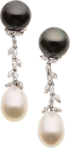 South Sea Cultured Pearl, Diamond, White Gold Earrings