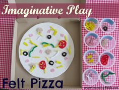 Setting up an opportunity to play imaginatively with a homemade felt pizza and felt pizza toppings.  {learning4kids}