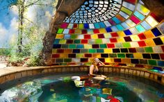 Rainbow Spa. The real DIY guy could do this in miniture maybe over hot tub in backyard. Colored plexy might not break in a hail storm either!!