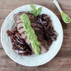 Walnut Crusted Tri Tip with Arugula Pesto #dinner #steak #recipe