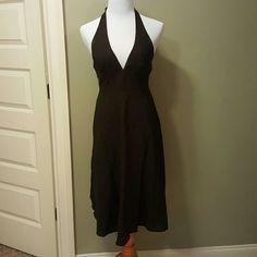 J. Crew brown-black textured halter dress J. Crew Factory textured brown-black halter dress. Only worn a few times so flattering on ties at neck. J. Crew Dresses