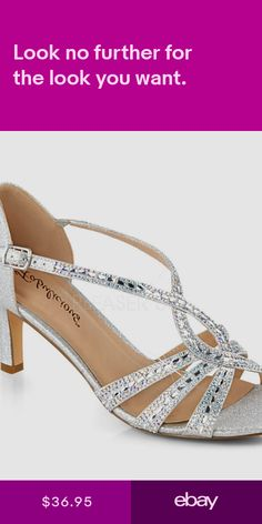 11ee00fac0ed 2 Silver Vintage Gatsby 20s Wedding Heels Formal Ballroom Dance Shoes Womans