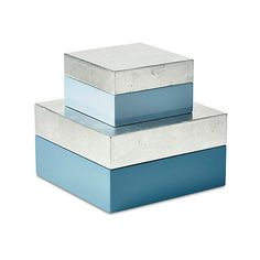 Asst. of  Nested Boxes Blue Boxes (€24) ❤ liked on Polyvore featuring home, home decor, small item storage, decorative accessories, blue keepsake box, keepsake box, silver keepsake box, blue bird house and blue home decor