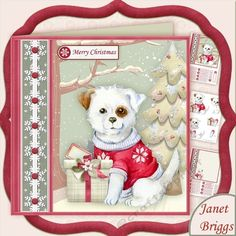 PUPPYS CHRISTMAS GIFT 7.5 Decoupage Kit by Janet Briggs 3 sheet mini kit with 3d step by step decoupage. Topper is approximately 7.5 inch or can be reduced in size for smaller cards.Creates a Christmas card suitable for all ages male or female. Features cute puppy with Christmas gift.Kit includes1. Topper & sentiment tags2. Decoupage 3. InsertSeveral sentiment tags including one blank. The othe
