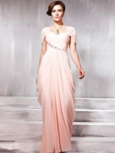 Elegante Etui-Kleid Chiffon Träger Bodenlänge