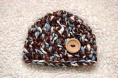 Crochet Button beanie hat for newborn baby boy by emmascozyattic, $22.00