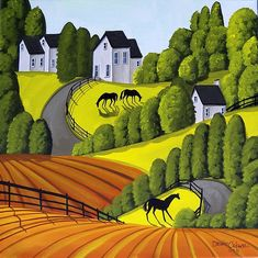 Three Ponies - horse landscape Art Print by Debbie Criswell Abstract Landscape, Landscape Paintings, Landscapes, Landscape Architecture, Pony Horse, Indian Folk Art, Home Landscaping, City Art, Illustrations
