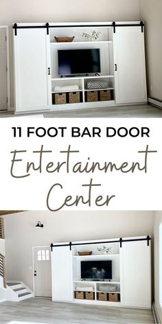 """Free step-by-step plans to build your own barn door entertainment center. Measures 11 feet long by 7 feet tall and about 18"""" deep. Save thousands and get exactly what you want by doing it yourself. Free plans by Ana-White.com. #anawhite #anawhiteplans #diy #diyfurniture #entertainmentcenter #barndoor #farmhouse #farmhousedecor Wood Home Decor, Diy Room Decor, Living Room Built Ins, Do It Yourself Decorating, Woodworking Projects Diy, Woodworking Plans, Home Projects, Weekend Projects, Faux Fireplace"""