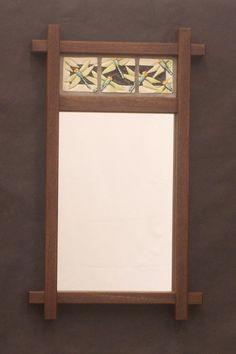 Decorative Mirror, Arts and Crafts, Mission Style Mirror,  Dragonfly tiles, Walnut Frame, Bungalow, Craftsman/ Wedding/Anniversay/Heirloom