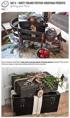 Create rustic pretend Christmas present decor with toolboxes! via http://www.funkyjunkinteriors.net/ #12days72ideas