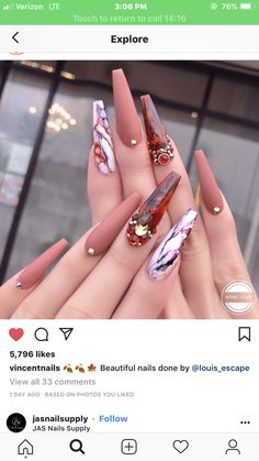 Nail Shapes - My Cool Nail Designs Glam Nails, Bling Nails, My Nails, Nails Inc, Beauty Nails, Beauty Skin, Cute Acrylic Nails, Acrylic Nail Designs, Nail Art Designs