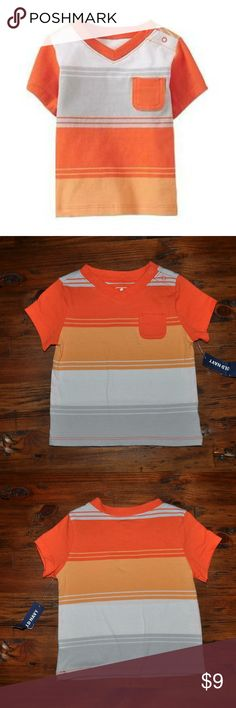 New OLD NAVY Baby Boy V-Neck Pocket Tee NWT size 6-12M condition: new with tags color: orange gray  striped snaps at shoulder short sleeve t-shirt  @cjrose25  Bundle your likes for a private discount. Old Navy Shirts & Tops Tees - Short Sleeve