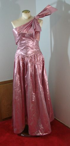 Vintage 80s Pink with Black dots Lame Formal Gown Dress Dance Party S by TheScarletMonkey on Etsy