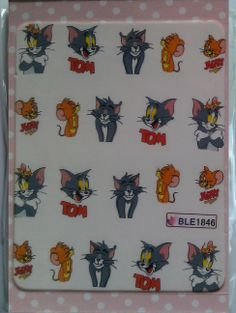 tom and jerry nail art transfers £1 at www.charliesnailart.co.uk