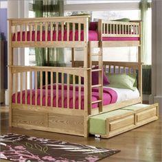 Full over full Atlantic Furniture Columbia Style Full Over Full Bunk Bed in Natural Maple