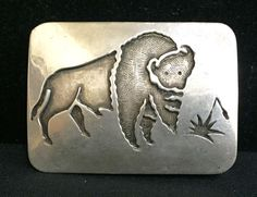Sterling Silver Native American Indian Belt Buckle (Dead Pawn)