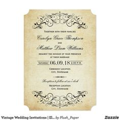 Shop Ornate Vintage Flourish Burlap Wedding Invitations created by weddingtrendy. Personalize it with photos & text or purchase as is! Disney Invitations, Art Deco Wedding Invitations, Vintage Wedding Invitations, Wedding Invitation Wording, Elegant Wedding Invitations, Custom Invitations, Bridal Shower Invitations, Invitation Set, Wedding Stationary