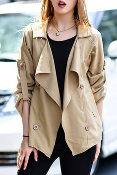 Stylish Turn-Down Collar Loose-Fitting Solid Color Jacket For Women