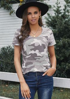 Comfortable and style come together in our trendy Amy Classic T Shirt top. Well-made and good quality is the basic elements of this top and will keep you comfortable from day to night. Pair this top with jeans or leggings and you are ready to go for all occasions. Ready To Go, Camo, Classic T Shirts, V Neck, Leggings, Night, Grey, Jeans, Tops