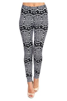 Printed Leggings (Black White Night Lotus),One Size Fits All: 0 (XS) - 12 (L) -- Awesome products selected by Anna Churchill