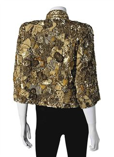 A GOLD BEADED, SEQUIN AND SILK BRAID JACKET Joan Rivers Christies Auction Joan Rivers, Gold Beads, Shoulder Pads, Overalls, Braids, Auction, Winter Jackets, Sequins, Silk
