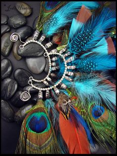 Feather Ear Cuffs...I want feather back in my hair with these colors