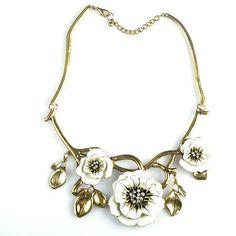 Europe Fashion Enamel Crystal Flower Pendant Statement Collar Choker Necklace