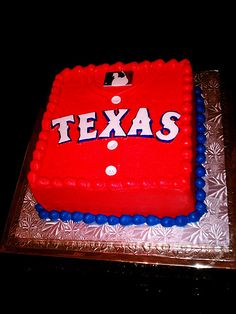 Texas Rangers Grooms cake, but the white uniforms...