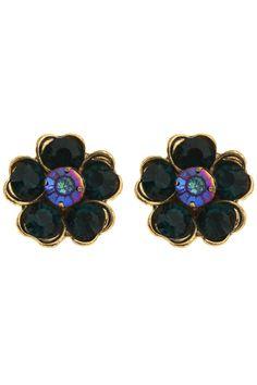 #Romwe   Retro Diamante Flower Earrings