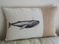 Whale Vintage Style Rustic Hessian Cushion Burlap Pillow