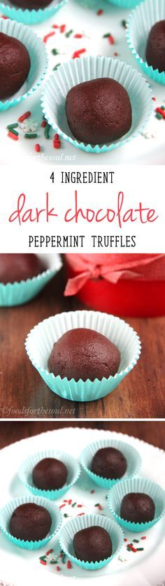 Skinny Dark Chocolate Peppermint Truffles -- 27 calories & SO easy! NO heavy cream or melted chocolate involved!