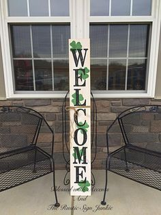 St Patrick's Day decor, Rustic welcome signs, Welcome porch signs, Front porch decor, Rustic welcome – Green Clover Wooden Welcome Signs, Porch Welcome Sign, Wooden Signs, Rustic Signs, St Pattys, St Patricks Day, Deco St Patrick, Front Porch Signs, Front Porches