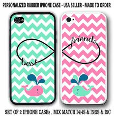 MINT MIX PINK CHEVRON CUTE WHALE BFF BEST FRIENDS CASES For iPhone 6 6+ 4S 5S 5C