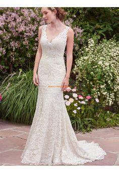 Meerjungfrau V-ausschnitt Glamouröse Brautkleider aus Spitze mit Schleppe