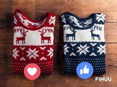 Czerwony czy granatowy? Który z nich założylibyście na świąteczne przyjęcie? :) #finuu #finuupl #sweter #sweater #uglysweater #christmas #bozenarodzenie #xmas Drink Sleeves