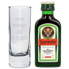 Personalised Shot Glass and Mini Jagermeister - Text Only from Personalised Gifts Shop - ONLY