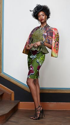 Fashion | Vlisco V-Inspired : wax print skirt top and jacket