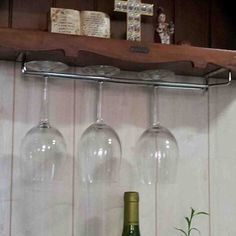 Find a place where you can build your wine glass rack. The best place is at the top of a smaller cabinet next to a larger one Wine Glass Storage, Kitchen Light Inspiration, Outdoor Kitchen Design, Buy Cabinets, Wine Glass, Wine Glass Rack, Glass, Diy Wine Rack, Kitchen Design Program