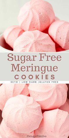Sugar Free Meringue Cookies Recipe, Gluten Free Cookie Recipes, Sugar Free Cookies, Sugar Free Recipes, Keto Cookies, Gluten Free Cookies, Sugar Free Macaron Recipe, Sugar Free Divinity Candy Recipe, Diabetic Cookies