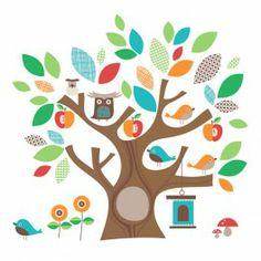 Vinilo infantil para decorar el cuarto con un árbol Diseña con paisaje completo o con una rama, búho, pajarito #autoadhesivos #vinilo #kids #deco