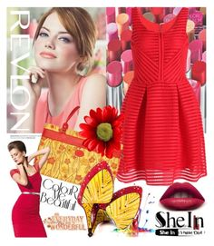 """Shein dress"" by irinavsl ❤ liked on Polyvore featuring Revlon, Giorgio Armani, Patricia Kor and TaylorSays"