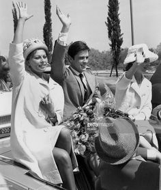Italian actress Sophia Loren, French actor Alain Delon and his fiancee Austrian actress Romy Schneider (1938 - 1982) at the Cannes Film Festival, 8th May 1962.