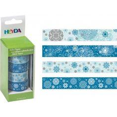 20 ron - 203584389 - Set 4 deco tapes - washi tapes - scoci hartie imprimat - Fulgi de nea - Heyda