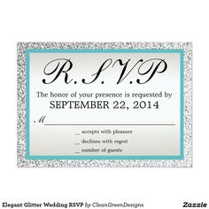 Elegant Glitter Wedding RSVP Card
