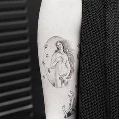 """grey Venus tattoo idea on arm (4"""" height)"""