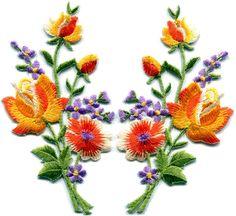 $3.79 - Orange Roses Pair Flowers Floral Bouquet Retro Boho Applique Iron-On Patch S-802 #ebay #Home & Garden