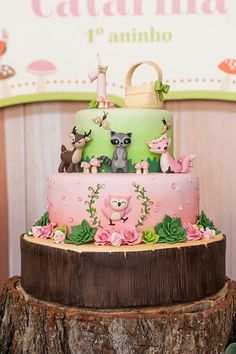 Jungle safari baby Shower Ideas: Fall Baby Shower Cake Foxes and Trees. This cute Baby shower cake in greens and pinks. Otoño Baby Shower, Baby Shower Cakes, Baby Shower Parties, Cute Cakes, Pretty Cakes, Beautiful Cakes, Girl Cakes, Baby Cakes, Cupcake Cakes